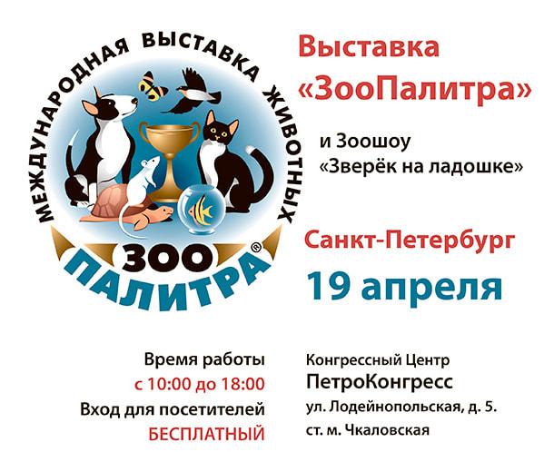 Здесь вы можете скачать рекламную листовку выставки ЗооПалитра и Зоошоу Зверек на ладошке, которые состоятся 19 апреля 2014 года в Санкт-Петербурге.